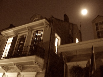 New Orleans French Quarter rooftop moon