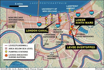 Hurricane Katrina New Orleans Map.Hurricane Katrina Levee Breaches Now You Can Take A Virtual Tour