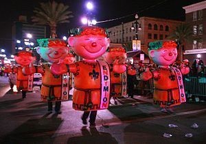 New Orleans Mardi Gras. Night parade on Canal ...