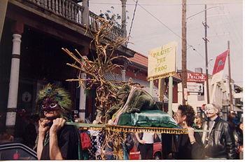 Mardi Gras revelry on Frenchmen Street, New Or...
