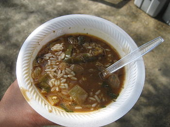 Styrofoam bowl of chicken & andouille gumbo, a...