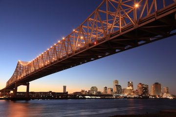 The Crescent City Connection frames the skyline of New Orleans, one of the top 10 cities in the world.