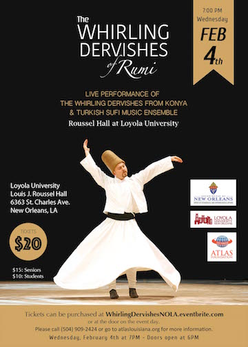A dervish whirls to the sound of live traditional Turkish music.