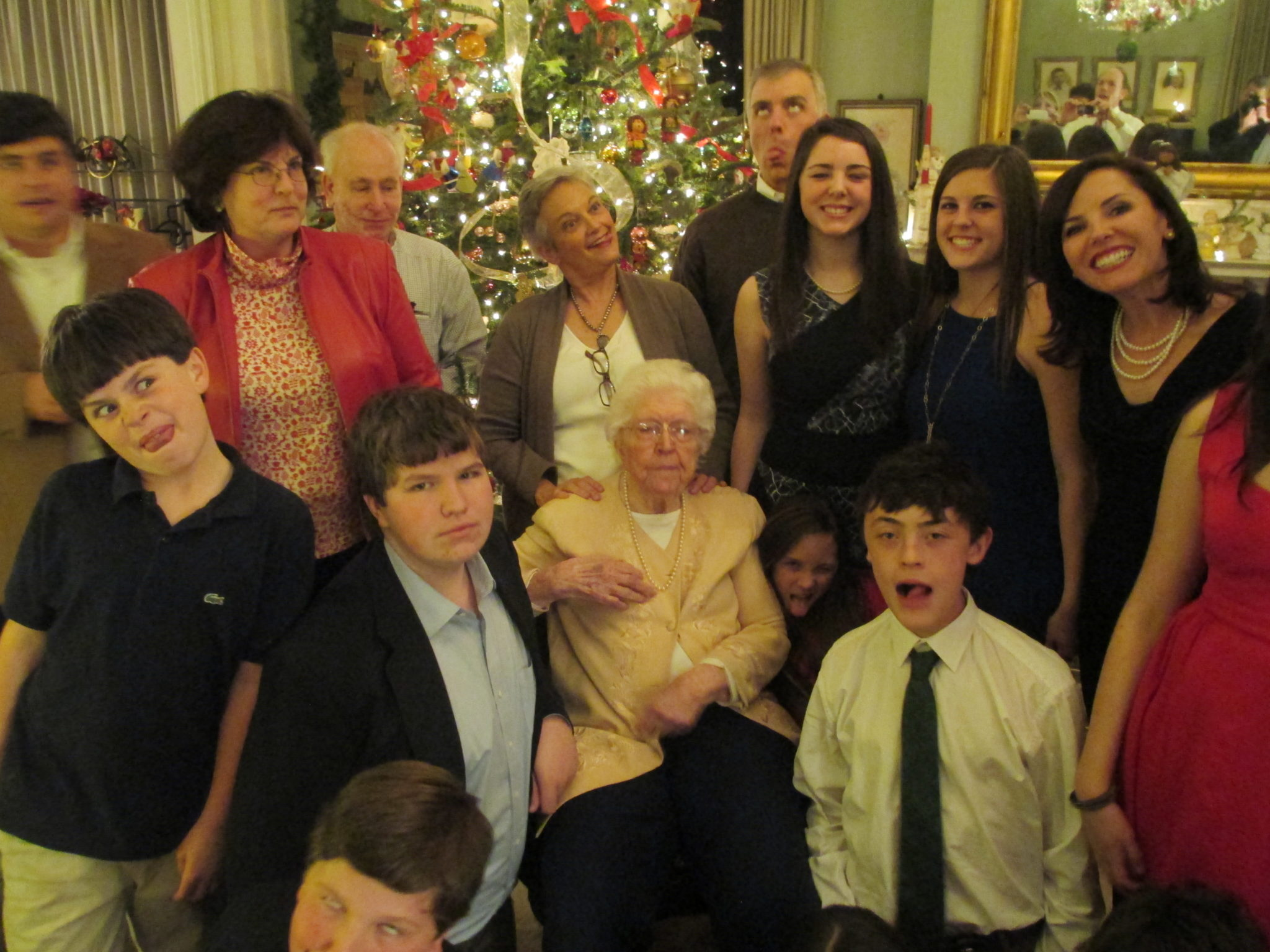 My mom who is now 102 surrounded by family.