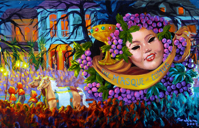 Beautiful artwork representing a Comus parade during New Orleans Mardi Gras