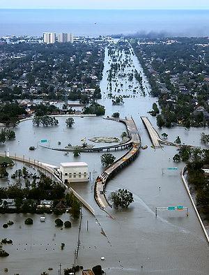 Flooded I-10/I-610 interchange and surrounding...