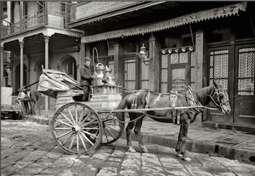 Old New Orleans photo - milk cart on Iberville in the French Quarter