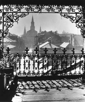 Old shot of New Orleans French Quarter looking toward the St. Louis Cathedral and Jackson Square.
